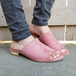Shoes - Pink Vegan Suede Loafer Open Toe Sandal Pearl-F